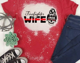 Firefighter Wife Bleached Shirt,Mom Messy Bun Skull,Patriotic,Thin Red Line,Support,Distressed T-Shirt,USA American Flag,Gift for Her