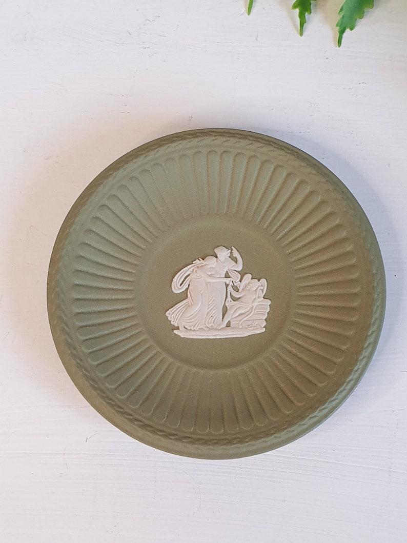 Small Decorative Green And White Jasperware Wedgwood Pin Dish