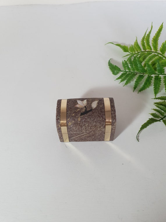 Small Soap Stone and Brass Trinket Chest with Mother of Pearl Inlay