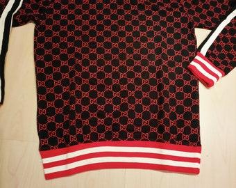 54eb8ce0163 Designers inspired silk screen printed Double G Black Red mens sweatshirt