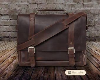 Lawyers Bag Leather Briefcase Men and women BUSINESS BRIEFCASE BROWN  Leather Satchel italian Leather-23516 Classic Handmade Briefcase