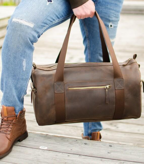 Leather Travel Bag, Leather Weekender Bag, Personalized Holdall Bag, Large Luggage Bag, Overnight Bag, Men's Gym Bag, Duffle Luggage