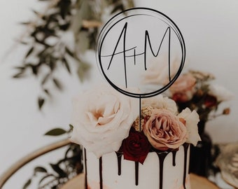 Initials Monogram Toppers for Wedding by Rawkrft - Custom Cake Topper Personalized Wedding Cake Topper Birthday Anniversary Baptism