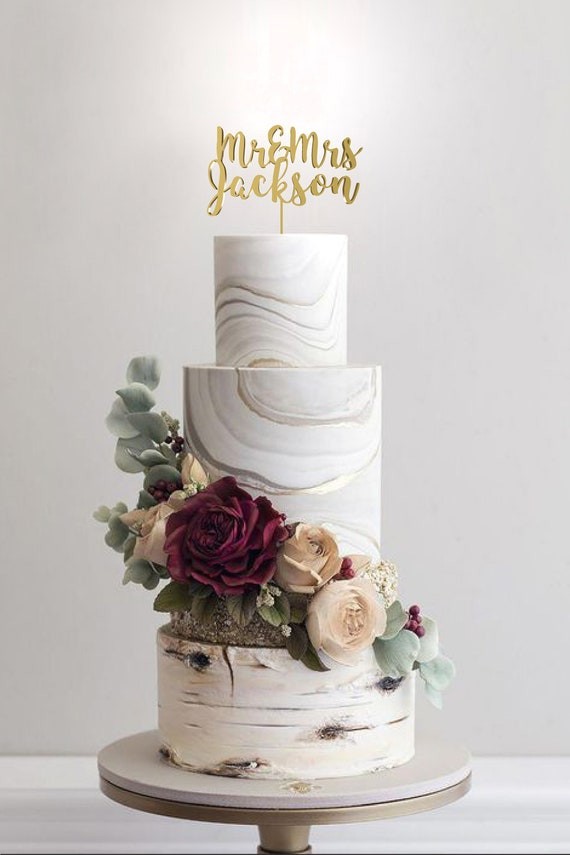 Mr and Mrs Wedding Cake Topper by Rawkrft - Customize Your Own - Designed and Made in Los Angeles California - Ready to ship in 1-2 Business