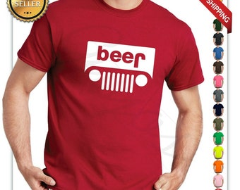 1584c179 Beer jeep logo parody drinking humor mens graphic t-shirt funny logo parody  tee