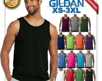 5b9cd8cab9 Gildan tank top ultra cotton mens workout fitness gym shirt solid color 5200