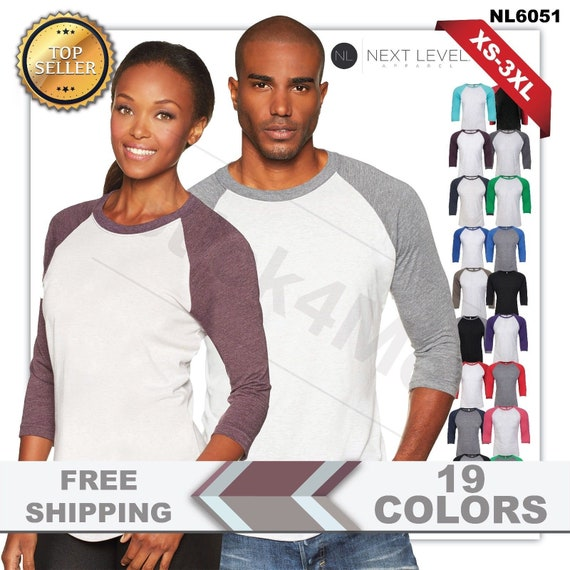6051 Next Level Premium 3//4 Sleeve Raglan Baseball T-Shirt Tri Blend Plain Tee