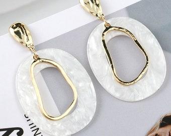 e88e038aecd6b Big white earrings | Etsy