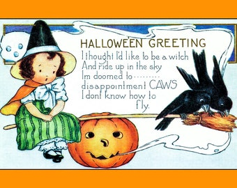 Set Of 5 - 5x7 Or 3.5x5 - Blank Folded Vintage Halloween Cards And Envelopes - Halloween Greetings - A Little Witch - Pumpkin And Crows
