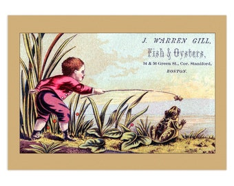 Set Of 5 - 3.5x5 Or 5x7 - Blank Folded Vintage Advertising Cards And Envelopes - Boy Enticing A Frog With A Bug On A Stick