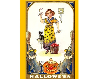 Set Of 5 - 5x7 Or 3.5x5 - Blank Folded Vintage Halloween Cards And Envelopes - Young Witch In A Yellow Dress With A Basket Of Apples