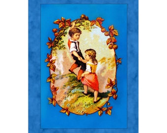 Set Of 5 - 3.5x5 Or 5x7 - Blank Folded Vintage Advertising Cards And Envelopes - Young Boy Helping A Girl Up A Hill By Her Hand