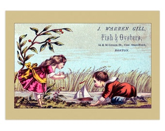Set Of 5 - 3.5x5 Or 5x7 - Blank Folded Vintage Advertising Cards And Envelopes - Girl And Boy Playing With Toy Sail Boat