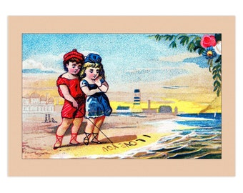 """Set Of 5 - 3.5x5 Or 5x7 - Blank Folded Vintage Advertising Cards And Envelopes - Young Couple Writing """"I Love You"""" In The Sand At The Beach"""