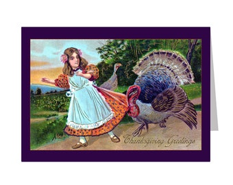 Turkey Tugging On A Young Girls Dress - Set of 5 - 3.5x5 Or 5x7 - Blank Folded Vintage Thanksgiving Cards And Envelopes