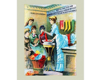 Set Of 5 - 3.5x5 Or 5x7 - Blank Folded Vintage Advertising Cards And Envelopes - Victorian Lesson On Dyeing Laundry