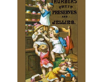 Set Of 5 - 3.5x5 Or 5x7 - Blank Folded Vintage Advertising Cards And Envelopes - Kids Climbing On Each Other To Get Preserves Off Top Shelf