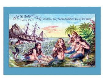 Set Of 5 - 3.5x5 Or 5x7 - Blank Folded Vintage Advertising Cards And Envelopes - Ayer'S Hair Vigor, Mermaids