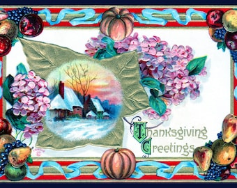 Thanksgiving Card - Village At Sunset - Forget-Me-Nots - Set Of 5 - 3.5x5 Or 5x7 - Blank Folded Vintage Thanksgiving Cards And Envelopes