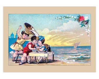 Set Of 5 - 3.5x5 Or 5x7 - Blank Folded Vintage Advertising Cards And Envelopes - Spilling Clam Chowder On Young Couple In Love On The Beach