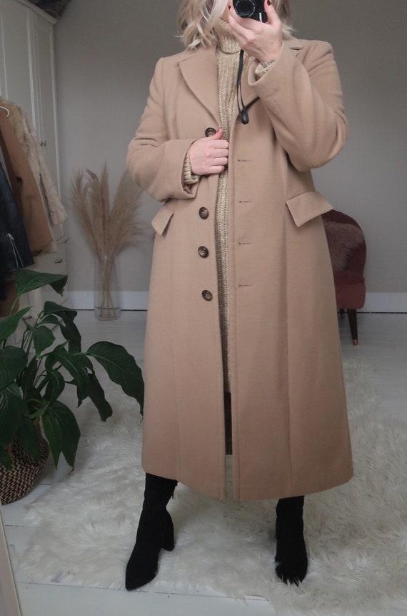 Vintage tan long coat, vintage camel coat, vintag… - image 3