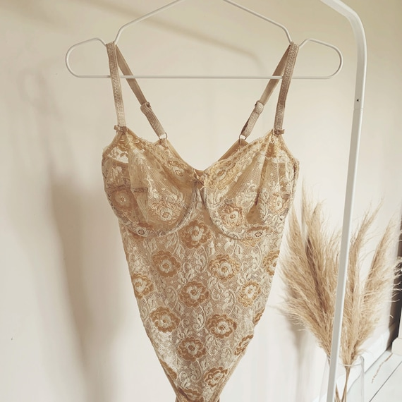 Vintage champagne and gold floral lace bodysuit, v