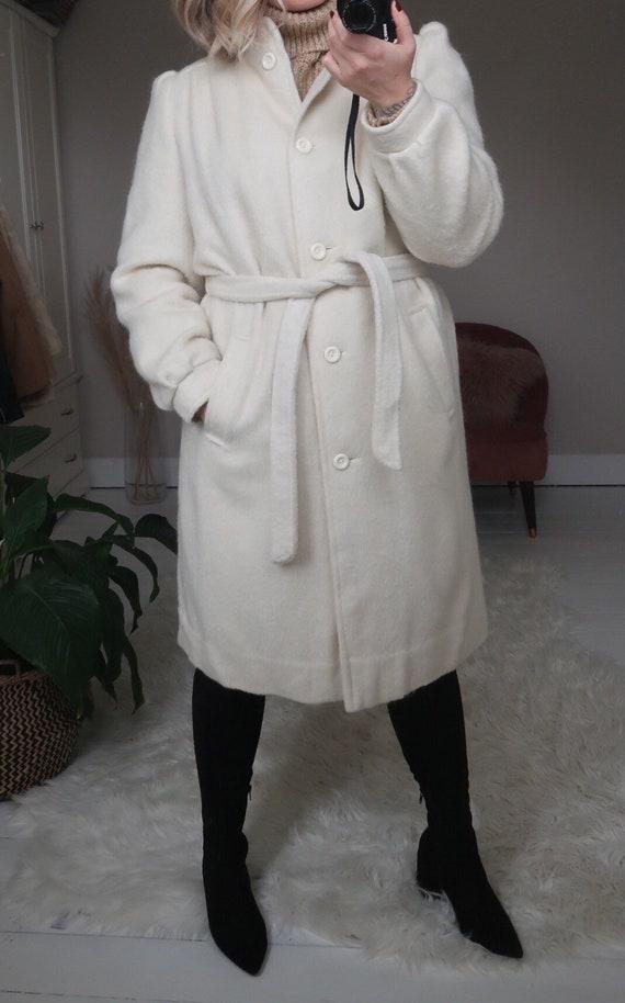 Vintage ivory wool blend belted long coat - image 2