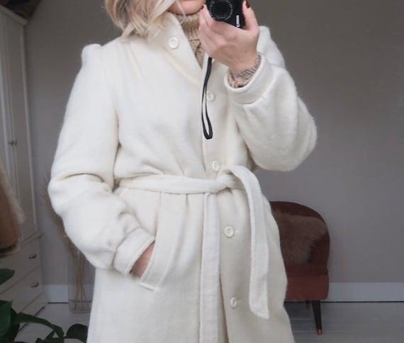 Vintage ivory wool blend belted long coat - image 1