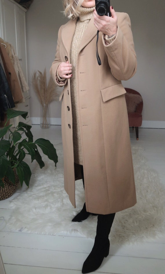 Vintage tan long coat, vintage camel coat, vintage
