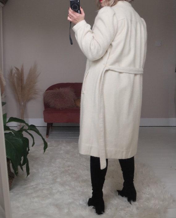 Vintage ivory wool blend belted long coat - image 5