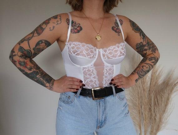 Vintage lace basque, vintage lace corset, vintage