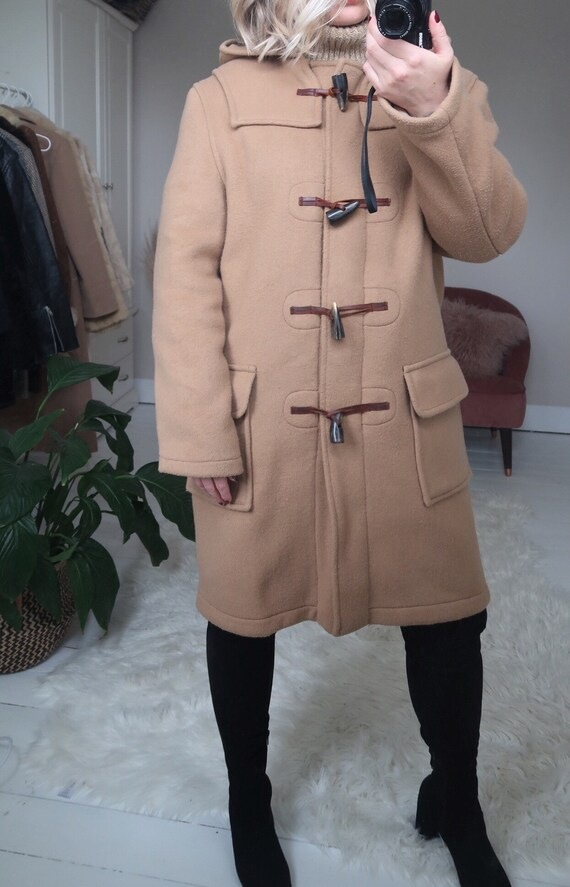 Vintage tan hooded duffle coat with check lining