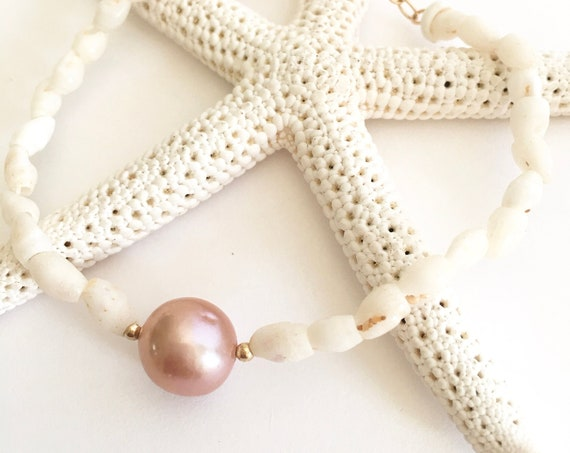 Niihau shell & Pink Pearl bracelet