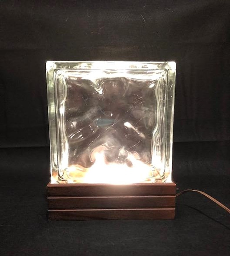 Vintage Mid-Century Modern Architectural Wavy Hollow Glass Block Table or Desk Lamp