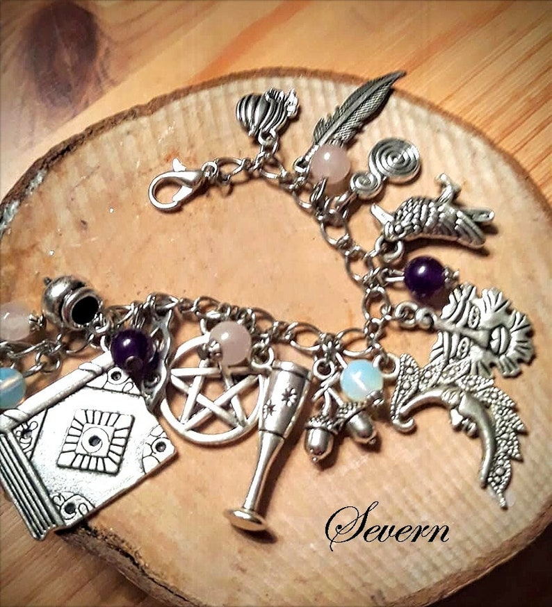 Handmade Wicca charm bracelet witch triquetra charmed moonstone amethyst quartz