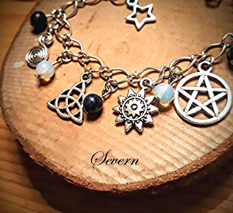 Handmade Wicca charm bracelet lapis lazuli opalite moon stone pentacle goddess