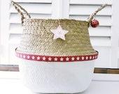 Christmas star basket White belly basket White dipped basket Nordic Christmas basket Storage basket Festive basket Nordic basket