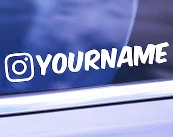Custom IG Name Vinyl Decal - Personalized IG Username Sticker - Vinyl Car Decal - Social Media Car Window Vinyl Decal Sticker