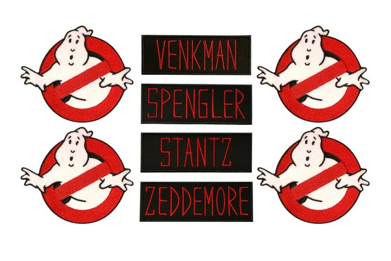 GHOSTBUSTERS No-Ghost Logo and VENKMAN Name Set of 2 Iron On//Sew On PATCHES