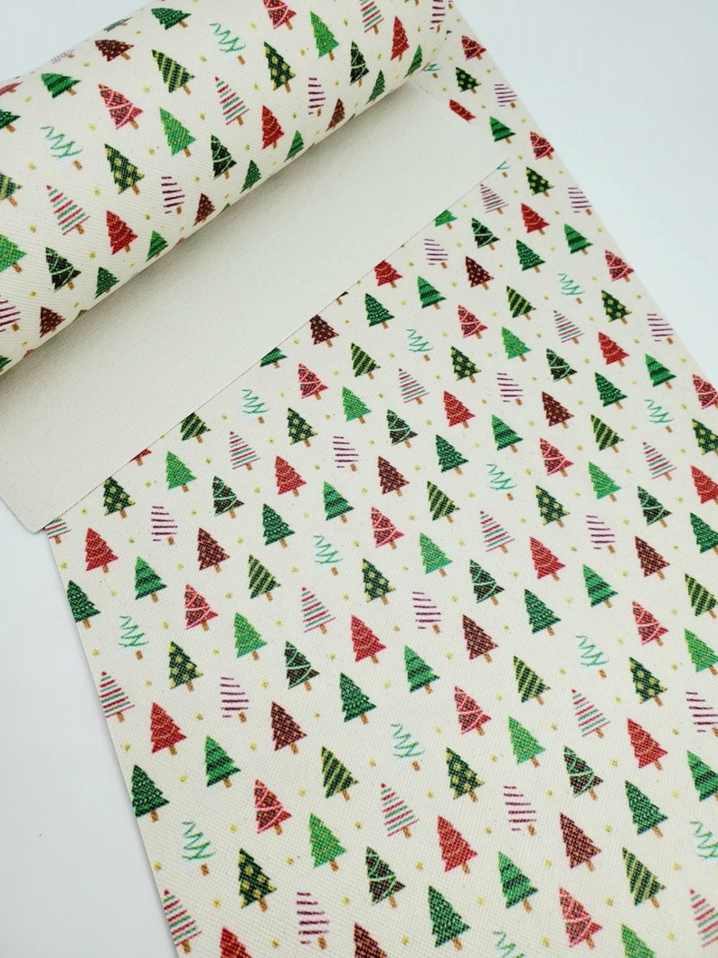 Christmas Fabric Sheet Planner CHRISTMAS TREES Fabric Sheet Hair Bows Synthetic Leather