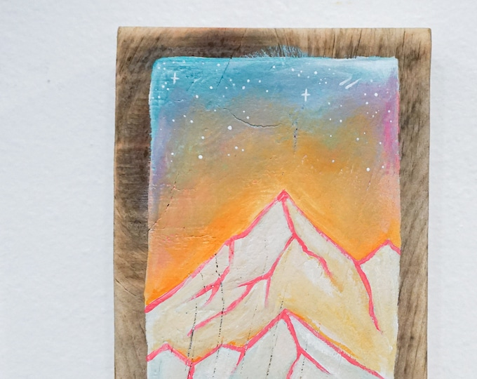 Featured listing image: Colorful Mountain Sunrise Painting on Wood