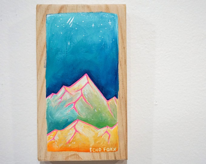 Featured listing image: Night Sky over the Mountains Painting on Wood