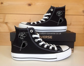 9ab1cb63c454 BTS Love Yourself Flower Custom Converse High Top Shoes