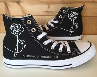 7faf87cc378d05 BTS Love Yourself Flower Custom Converse High Top Shoes