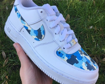ea1cbed125ec Fortnite Arctic Camo Hand Painted Nike Air Force 1 Trainers