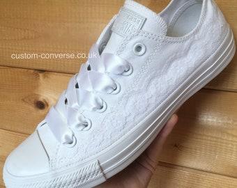4c753c35ffeb White Lace Trim Wedding Converse Trainers