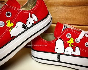 Barón Mona Lisa estoy enfermo  CONVERSE CHUCK TAYLOR All Star SNOOPY peanuts comic strip hand painted  shoes**