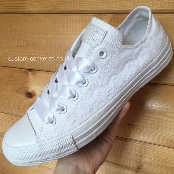 White Lace Trim Wedding Converse Trainers