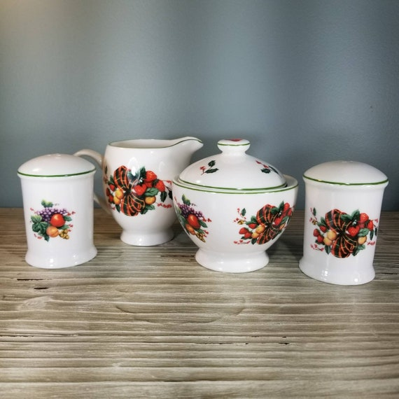 Cream Vintage William James Covered Sugar Salt and Pepper set featuring a beautiful Fruit and Ribbon motif