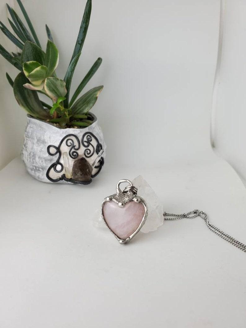 Rose Quartz Heart Molten Metal Open Face Both Sides